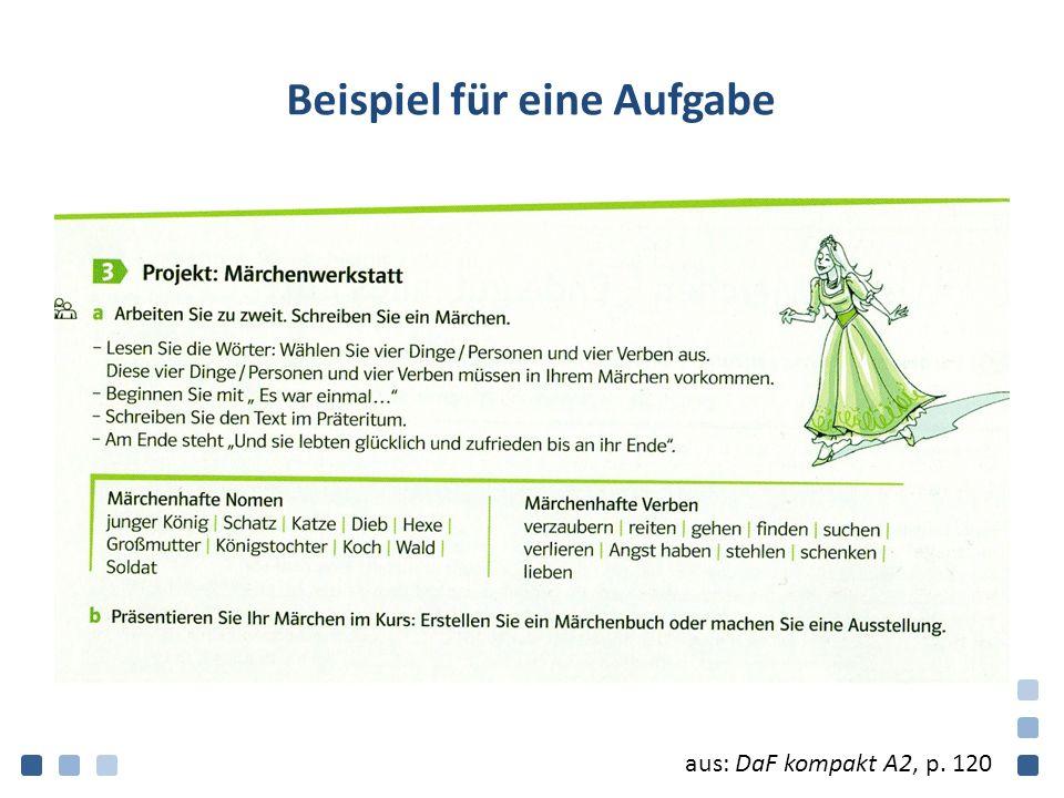Beispiel für eine Aufgabe aus: DaF kompakt A2, p. 120