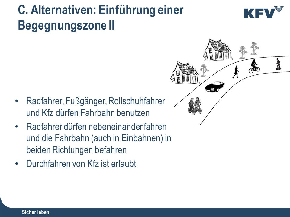 C. Alternativen: Einführung einer Begegnungszone II Radfahrer, Fußgänger, Rollschuhfahrer und Kfz dürfen Fahrbahn benutzen Radfahrer dürfen nebeneinan