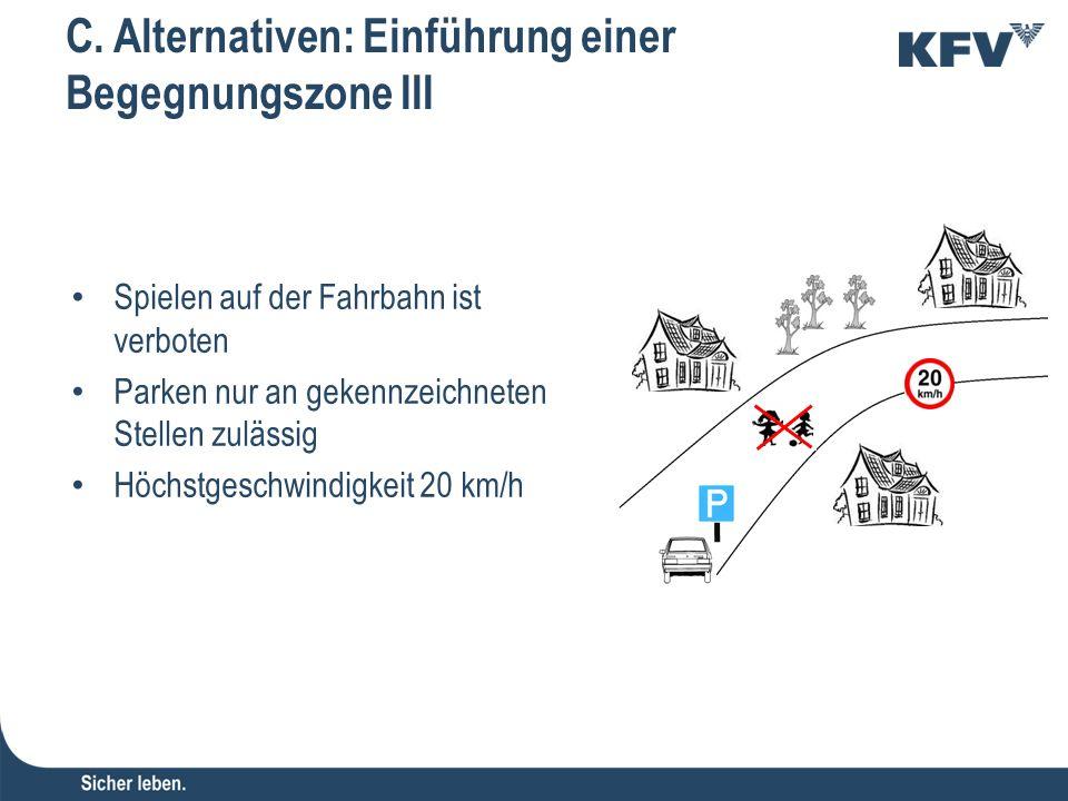 Spielen auf der Fahrbahn ist verboten Parken nur an gekennzeichneten Stellen zulässig Höchstgeschwindigkeit 20 km/h C. Alternativen: Einführung einer