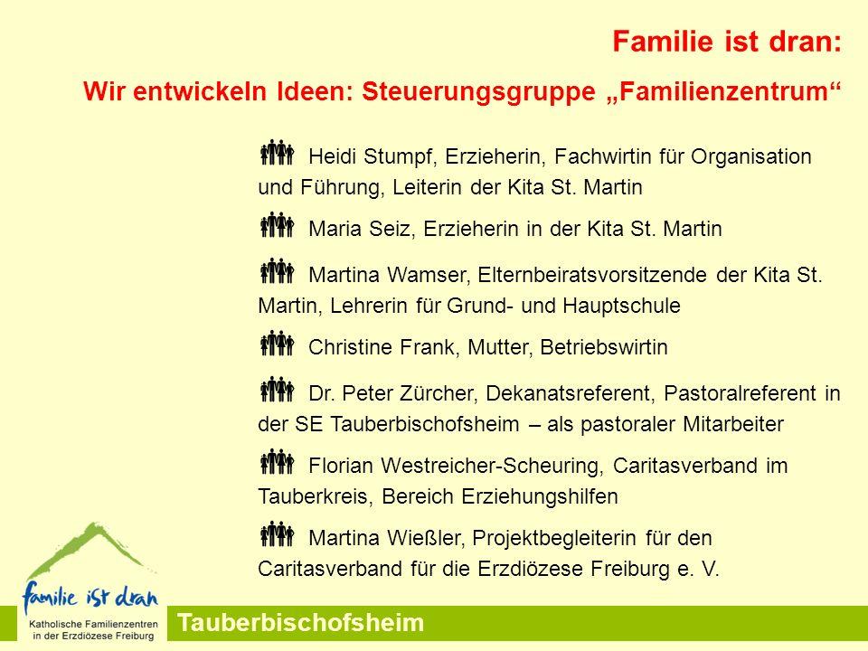 """Tauberbischofsheim Familie ist dran: Wir entwickeln Ideen: Steuerungsgruppe """"Familienzentrum  Heidi Stumpf, Erzieherin, Fachwirtin für Organisation und Führung, Leiterin der Kita St."""