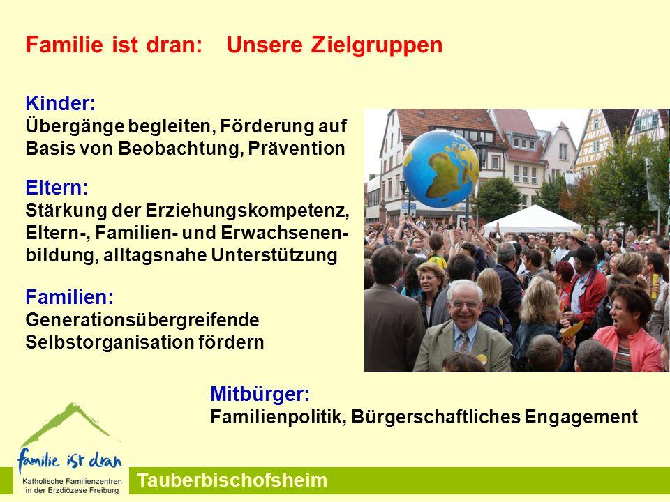 Tauberbischofsheim Familie ist dran: Unsere Zielgruppen Kinder: Übergänge begleiten, Förderung auf Basis von Beobachtung, Prävention Eltern: Stärkung