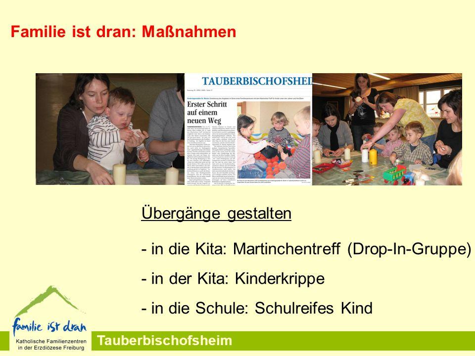 Tauberbischofsheim Übergänge gestalten - in die Kita: Martinchentreff (Drop-In-Gruppe) - in der Kita: Kinderkrippe - in die Schule: Schulreifes Kind Familie ist dran: Maßnahmen