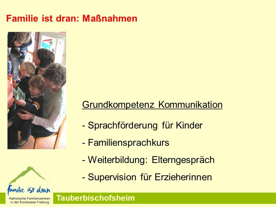 Tauberbischofsheim Grundkompetenz Kommunikation - Sprachförderung für Kinder - Familiensprachkurs - Weiterbildung: Elterngespräch - Supervision für Erzieherinnen Familie ist dran: Maßnahmen