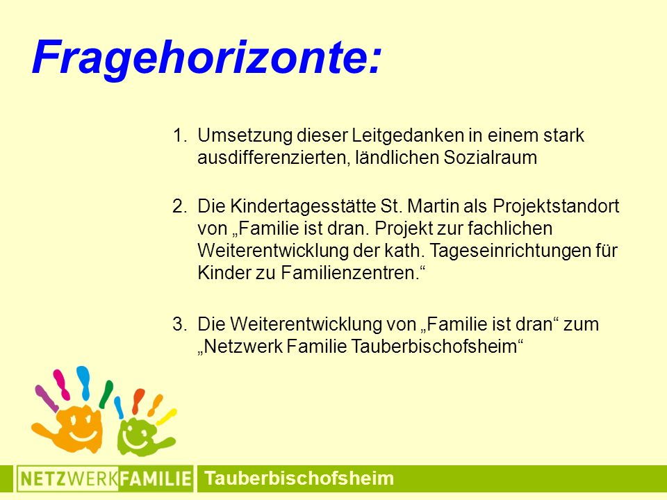 """Tauberbischofsheim Fragehorizonte: 2.Die Kindertagesstätte St. Martin als Projektstandort von """"Familie ist dran. Projekt zur fachlichen Weiterentwickl"""