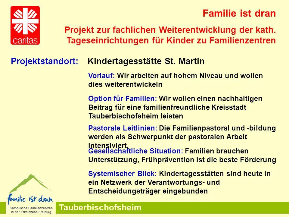 Tauberbischofsheim Vorlauf: Wir arbeiten auf hohem Niveau und wollen dies weiterentwickeln Option für Familien: Wir wollen einen nachhaltigen Beitrag für eine familienfreundliche Kreisstadt Tauberbischofsheim leisten Familie ist dran Projekt zur fachlichen Weiterentwicklung der kath.