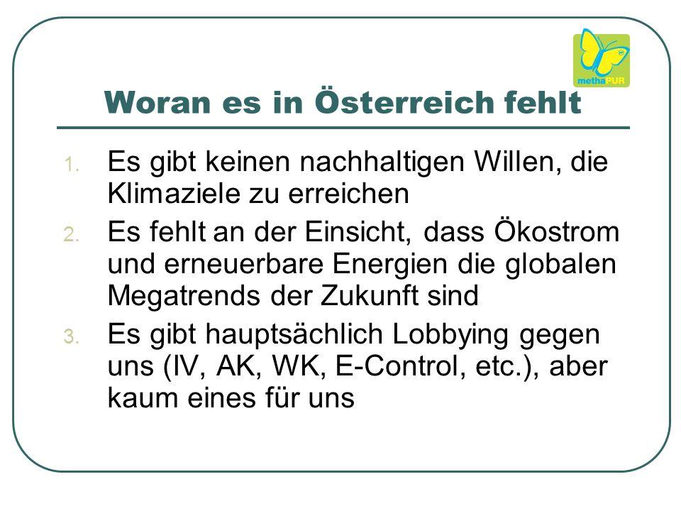 Woran es in Österreich fehlt  Es gibt keinen nachhaltigen Willen, die Klimaziele zu erreichen  Es fehlt an der Einsicht, dass Ökostrom und erneuerbare Energien die globalen Megatrends der Zukunft sind  Es gibt hauptsächlich Lobbying gegen uns (IV, AK, WK, E-Control, etc.), aber kaum eines für uns