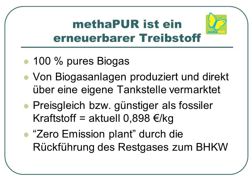 methaPUR ist ein erneuerbarer Treibstoff 100 % pures Biogas Von Biogasanlagen produziert und direkt über eine eigene Tankstelle vermarktet Preisgleich bzw.