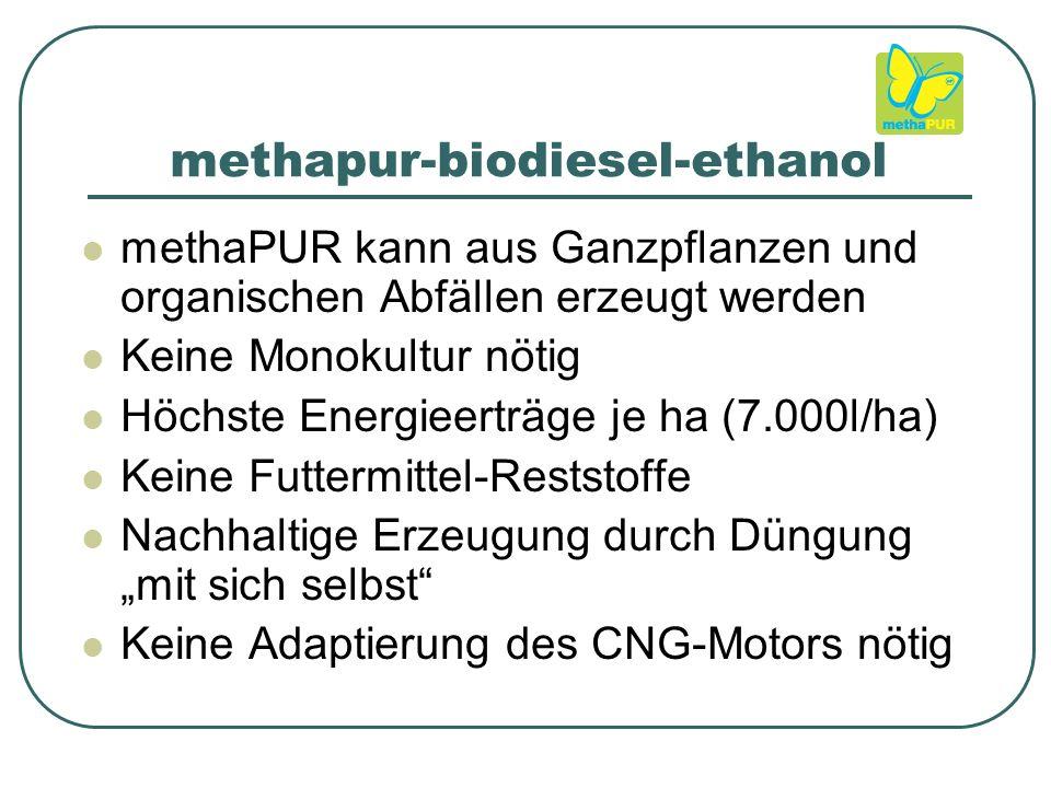 """methapur-biodiesel-ethanol methaPUR kann aus Ganzpflanzen und organischen Abfällen erzeugt werden Keine Monokultur nötig Höchste Energieerträge je ha (7.000l/ha) Keine Futtermittel-Reststoffe Nachhaltige Erzeugung durch Düngung """"mit sich selbst Keine Adaptierung des CNG-Motors nötig"""