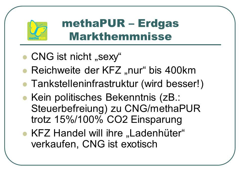 """methaPUR – Erdgas Markthemmnisse CNG ist nicht """"sexy Reichweite der KFZ """"nur bis 400km Tankstelleninfrastruktur (wird besser!) Kein politisches Bekenntnis (zB.: Steuerbefreiung) zu CNG/methaPUR trotz 15%/100% CO2 Einsparung KFZ Handel will ihre """"Ladenhüter verkaufen, CNG ist exotisch"""