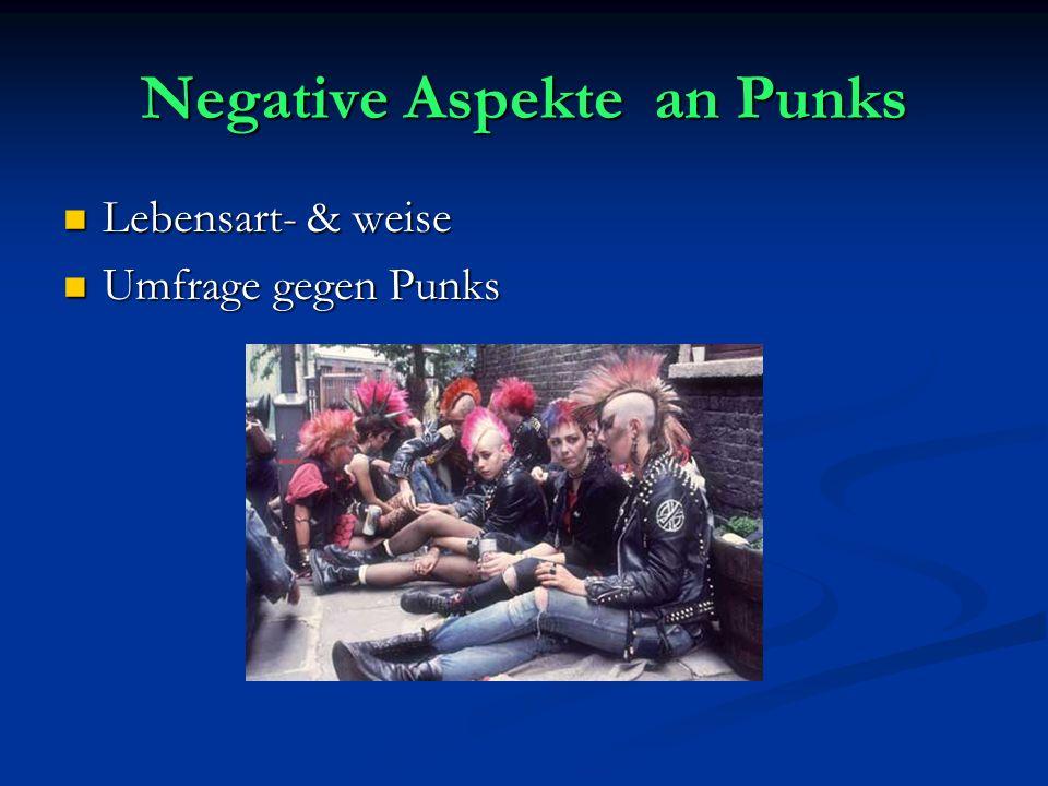 Negative Aspekte an Punks Lebensart- & weise Lebensart- & weise Umfrage gegen Punks Umfrage gegen Punks