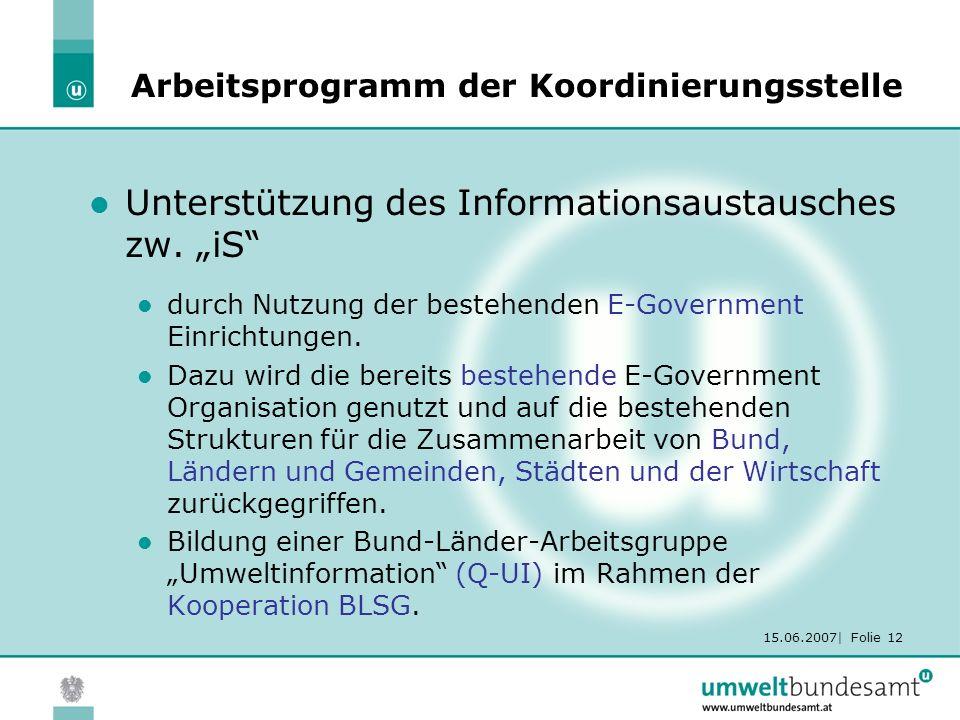 15.06.2007| Folie 12 Arbeitsprogramm der Koordinierungsstelle Unterstützung des Informationsaustausches zw.