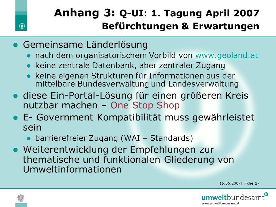 15.06.2007| Folie 27 Anhang 3: Q-UI: 1. Tagung April 2007 Befürchtungen & Erwartungen Gemeinsame Länderlösung nach dem organisatorischem Vorbild von w