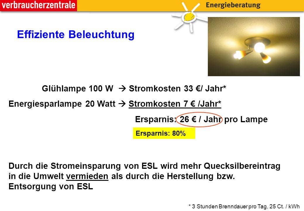 Effiziente Beleuchtung Glühlampe 100 W  Stromkosten 33 €/ Jahr* Energiesparlampe 20 Watt  Stromkosten 7 € /Jahr* Ersparnis: 26 € / Jahr pro Lampe Durch die Stromeinsparung von ESL wird mehr Quecksilbereintrag in die Umwelt vermieden als durch die Herstellung bzw.