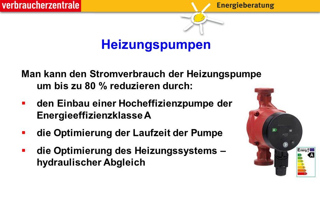 Heizungspumpen Man kann den Stromverbrauch der Heizungspumpe um bis zu 80 % reduzieren durch:  den Einbau einer Hocheffizienzpumpe der Energieeffizienzklasse A  die Optimierung der Laufzeit der Pumpe  die Optimierung des Heizungssystems – hydraulischer Abgleich