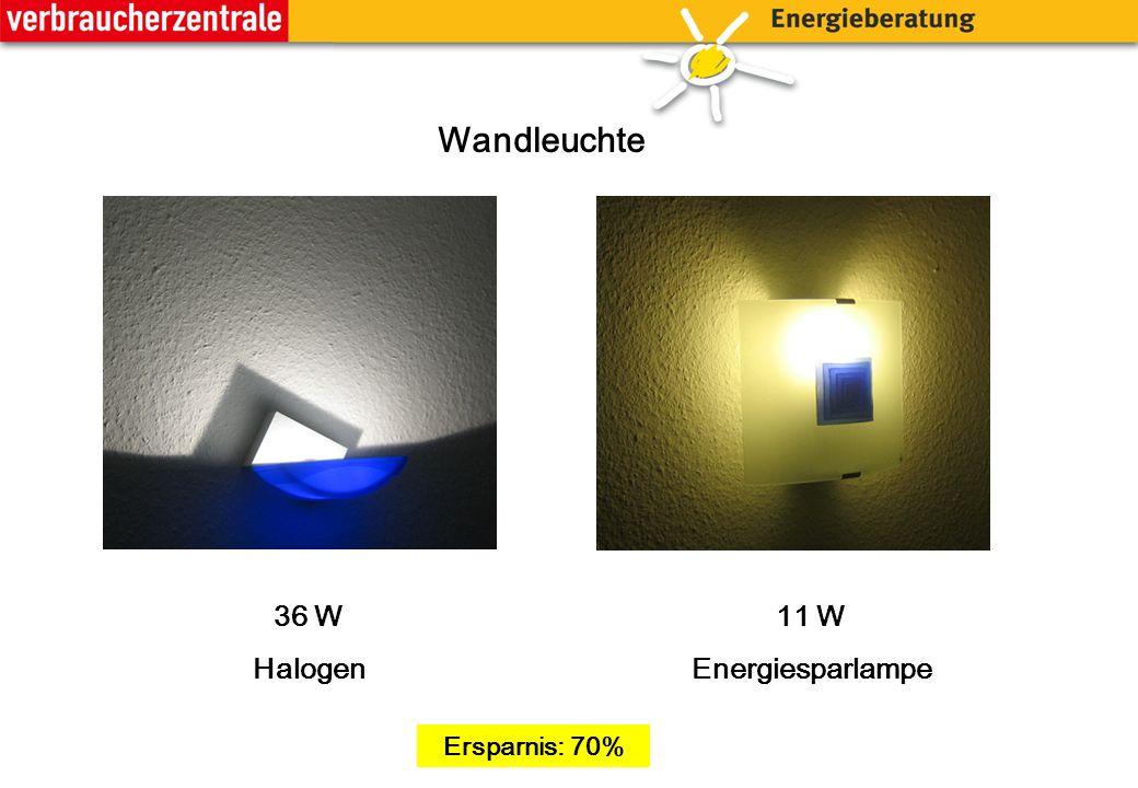 Wandleuchte 11 W Energiesparlampe 36 W Halogen Ersparnis: 70%