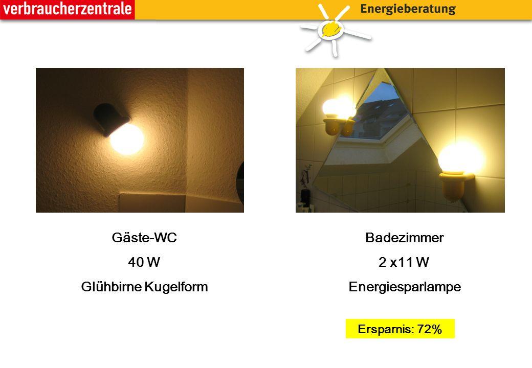 Badezimmer 2 x11 W Energiesparlampe Gäste-WC 40 W Glühbirne Kugelform Ersparnis: 72%