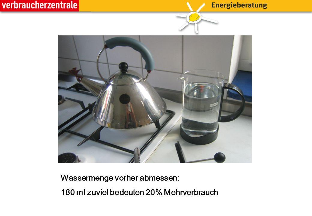 Wassermenge vorher abmessen: 180 ml zuviel bedeuten 20% Mehrverbrauch