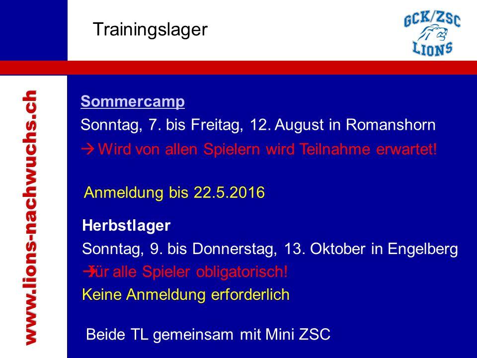 Traktanden Trainingslager Sommercamp Sonntag, 7. bis Freitag, 12.