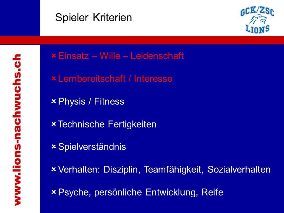 Traktanden Spieler Kriterien  Einsatz – Wille – Leidenschaft  Lernbereitschaft / Interesse  Physis / Fitness  Technische Fertigkeiten  Spielverständnis  Verhalten: Disziplin, Teamfähigkeit, Sozialverhalten  Psyche, persönliche Entwicklung, Reife