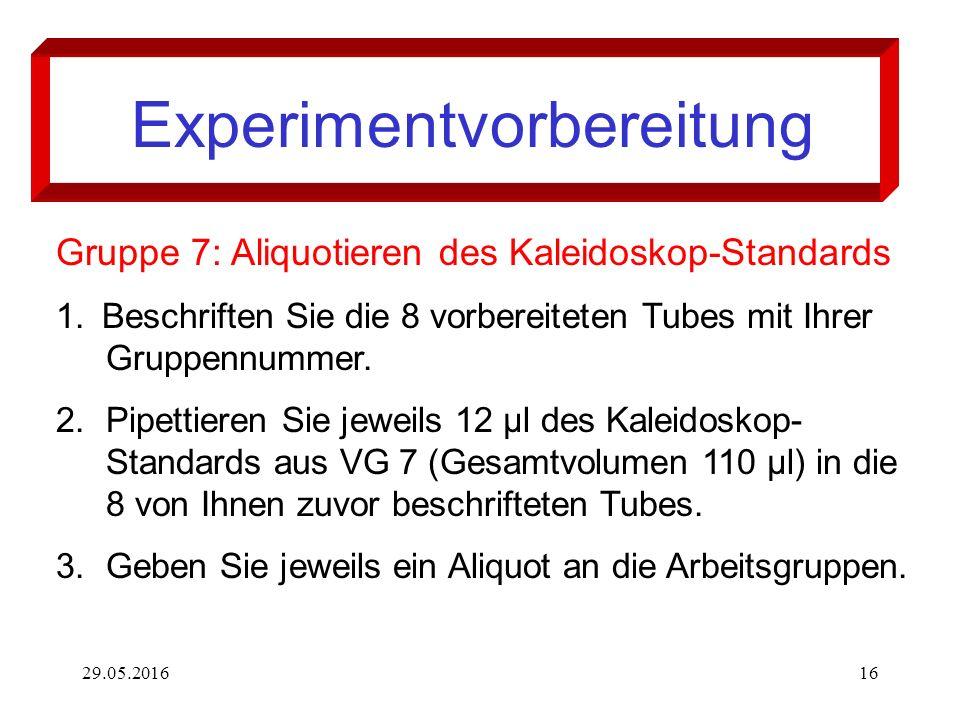 29.05.201616 Experimentvorbereitung Gruppe 7: Aliquotieren des Kaleidoskop-Standards 1. Beschriften Sie die 8 vorbereiteten Tubes mit Ihrer Gruppennum