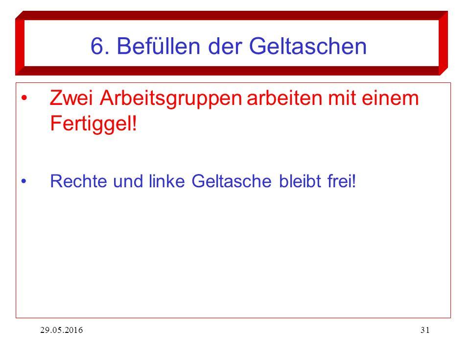 29.05.201631 6. Befüllen der Geltaschen Zwei Arbeitsgruppen arbeiten mit einem Fertiggel! Rechte und linke Geltasche bleibt frei!
