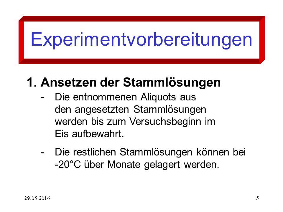 29.05.20165 Experimentvorbereitungen 1.Ansetzen der Stammlösungen - Die entnommenen Aliquots aus den angesetzten Stammlösungen werden bis zum Versuchs