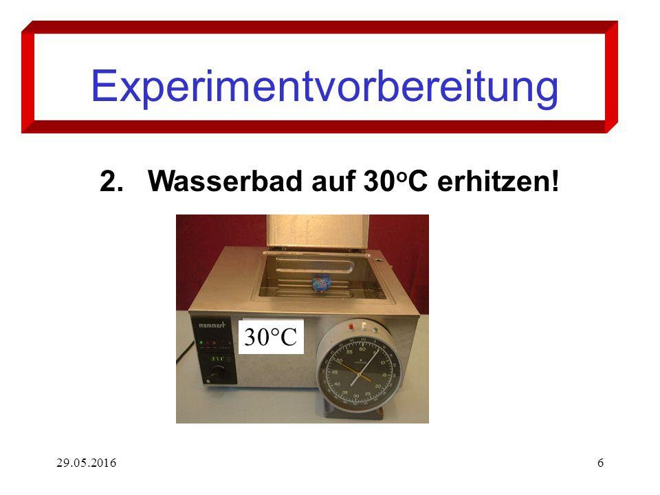 29.05.20166 Experimentvorbereitung 2.Wasserbad auf 30 o C erhitzen! 30°C