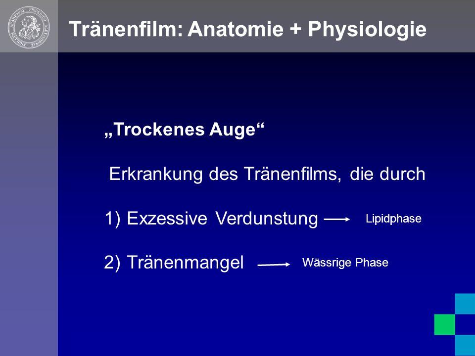 """Tränenfilm: Anatomie + Physiologie """"Trockenes Auge Erkrankung des Tränenfilms, die durch 1) Exzessive Verdunstung 2) Tränenmangel Lipidphase Wässrige Phase"""