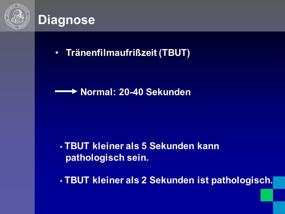 Diagnose Tränenfilmaufrißzeit (TBUT) TBUT kleiner als 5 Sekunden kann pathologisch sein.