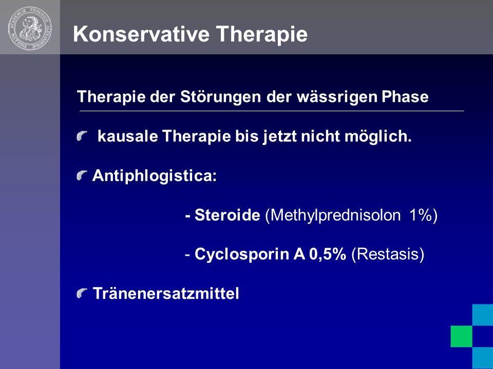 Konservative Therapie Therapie der Störungen der wässrigen Phase kausale Therapie bis jetzt nicht möglich.
