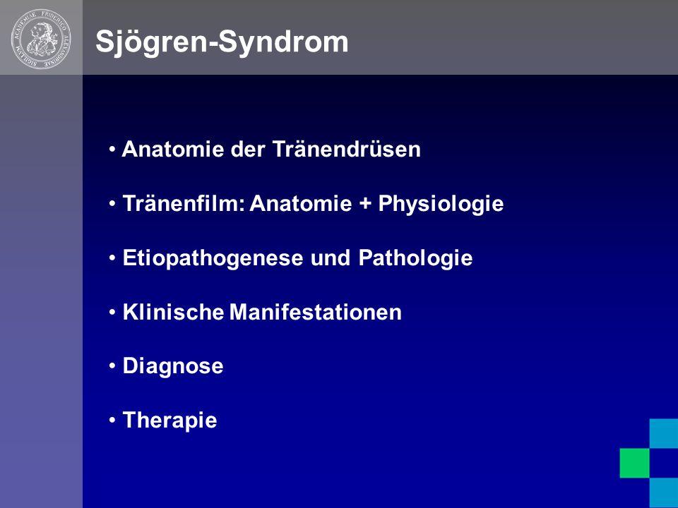 Anatomie der Tränendrüsen Tränenfilm: Anatomie + Physiologie Etiopathogenese und Pathologie Klinische Manifestationen Diagnose Therapie Sjögren-Syndrom