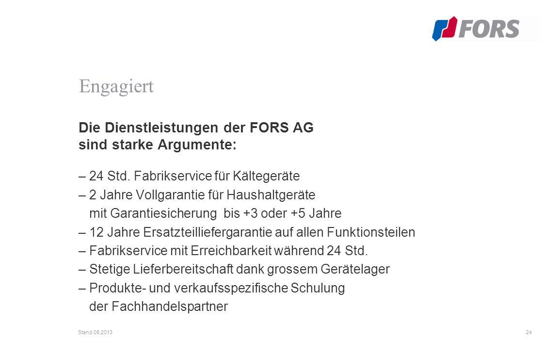 24 Stand 05.2013 Die Dienstleistungen der FORS AG sind starke Argumente: – 24 Std.