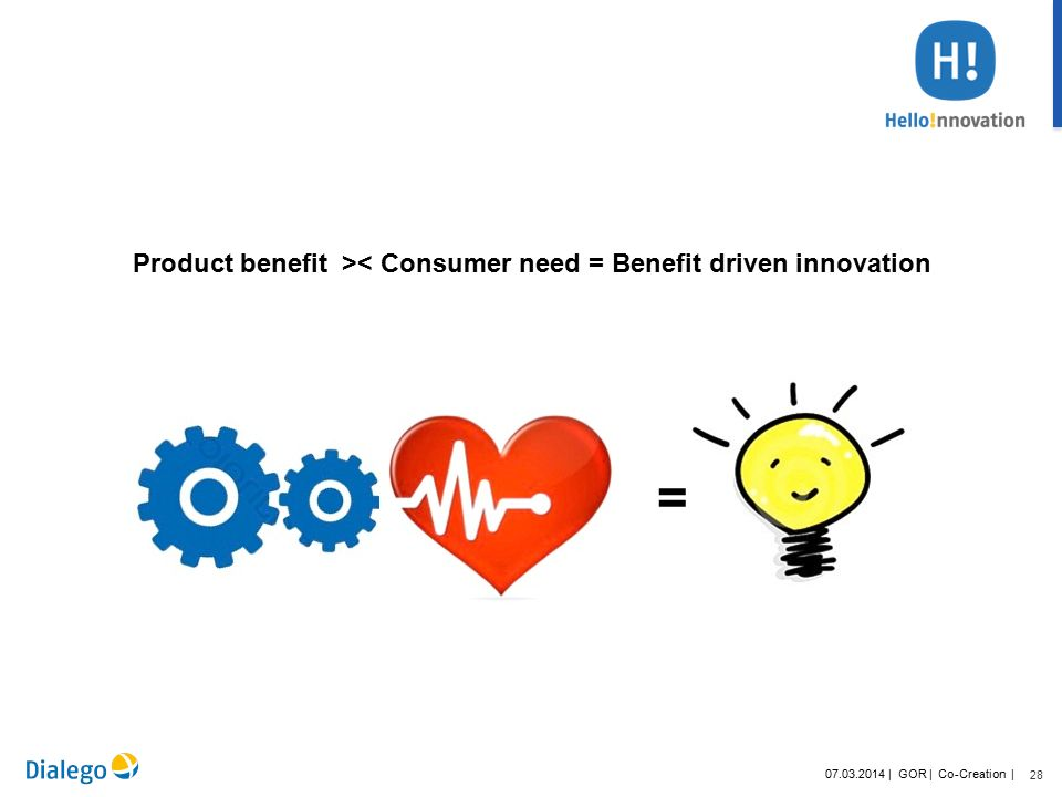 28 07.03.2014 | GOR | Co-Creation | Product benefit >< Consumer need = Benefit driven innovation =