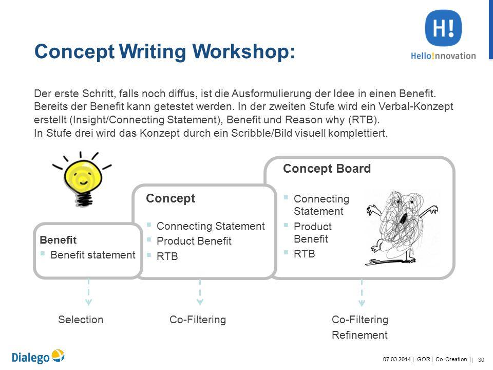 30 07.03.2014 | GOR | Co-Creation | | +SWOT Der erste Schritt, falls noch diffus, ist die Ausformulierung der Idee in einen Benefit.