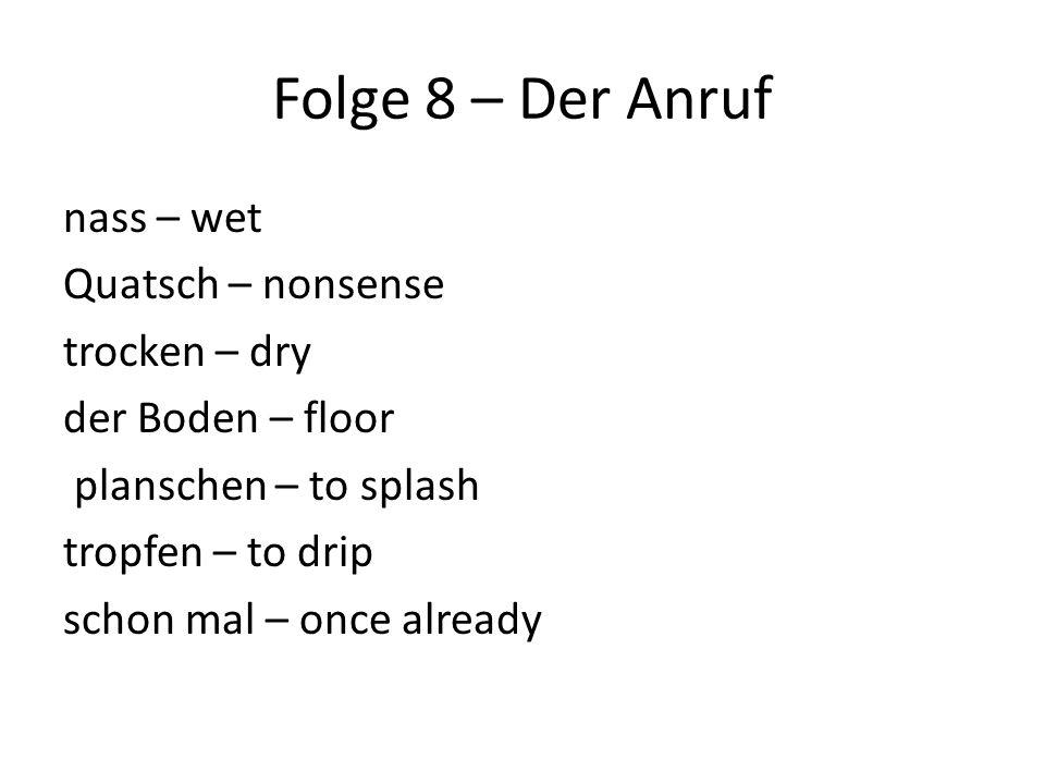 Folge 8 – Der Anruf nass – wet Quatsch – nonsense trocken – dry der Boden – floor planschen – to splash tropfen – to drip schon mal – once already