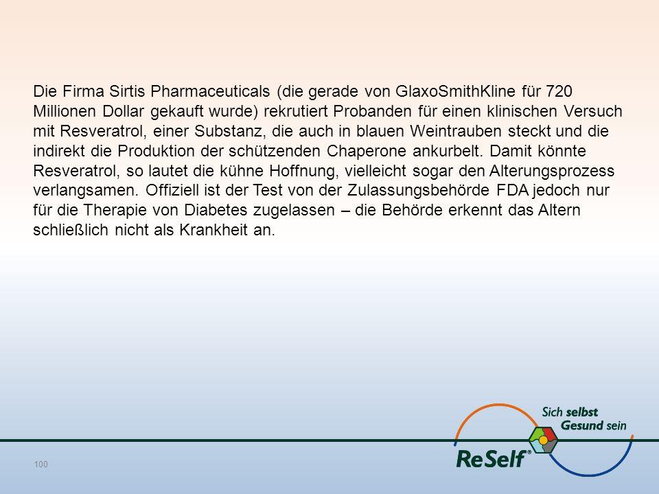 Die Firma Sirtis Pharmaceuticals (die gerade von GlaxoSmithKline für 720 Millionen Dollar gekauft wurde) rekrutiert Probanden für einen klinischen Ver