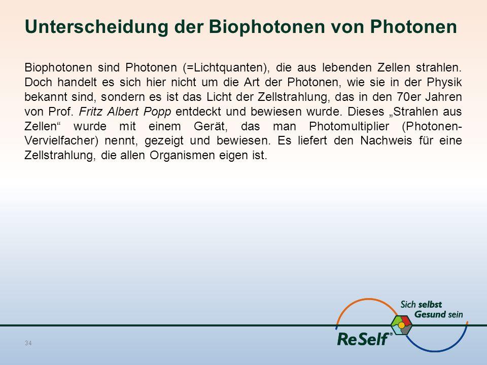 Unterscheidung der Biophotonen von Photonen Biophotonen sind Photonen (=Lichtquanten), die aus lebenden Zellen strahlen. Doch handelt es sich hier nic