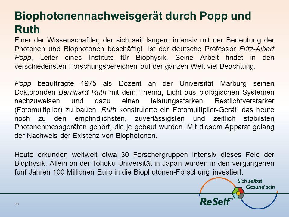 Biophotonennachweisgerät durch Popp und Ruth Einer der Wissenschaftler, der sich seit langem intensiv mit der Bedeutung der Photonen und Biophotonen b