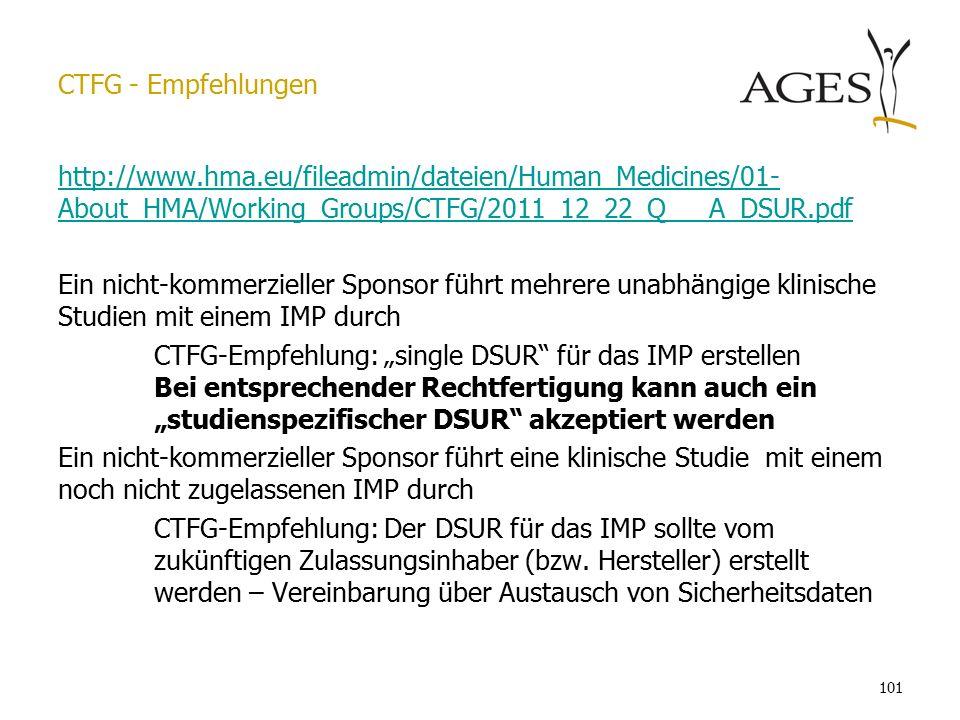 """101 http://www.hma.eu/fileadmin/dateien/Human_Medicines/01- About_HMA/Working_Groups/CTFG/2011_12_22_Q___A_DSUR.pdf Ein nicht-kommerzieller Sponsor führt mehrere unabhängige klinische Studien mit einem IMP durch CTFG-Empfehlung: """"single DSUR für das IMP erstellen Bei entsprechender Rechtfertigung kann auch ein """"studienspezifischer DSUR akzeptiert werden Ein nicht-kommerzieller Sponsor führt eine klinische Studie mit einem noch nicht zugelassenen IMP durch CTFG-Empfehlung: Der DSUR für das IMP sollte vom zukünftigen Zulassungsinhaber (bzw."""