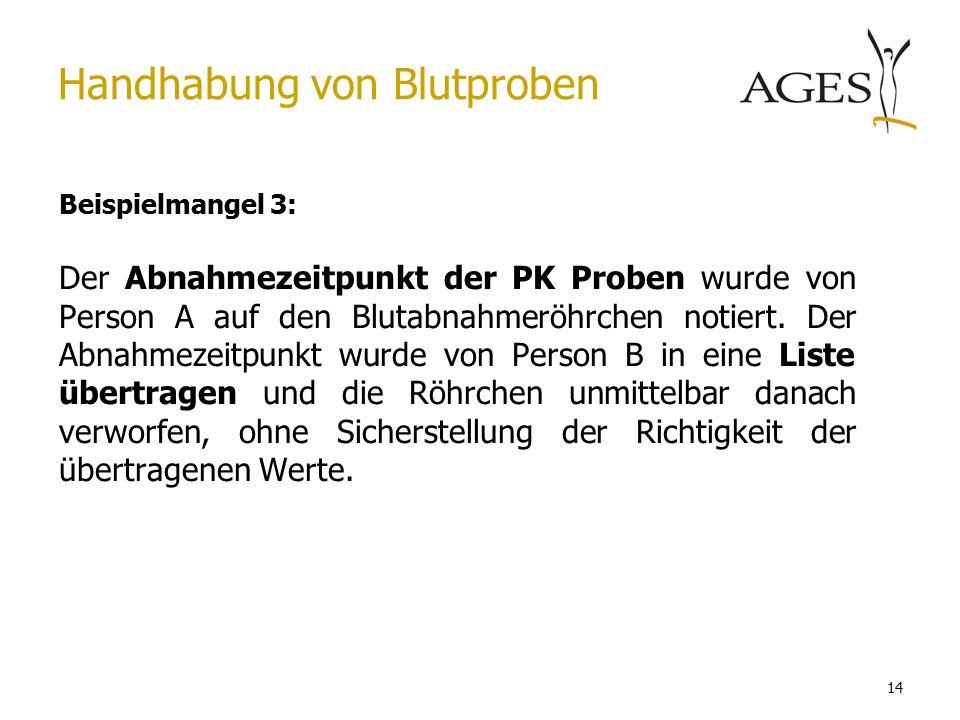 14 Handhabung von Blutproben Beispielmangel 3: Der Abnahmezeitpunkt der PK Proben wurde von Person A auf den Blutabnahmeröhrchen notiert.