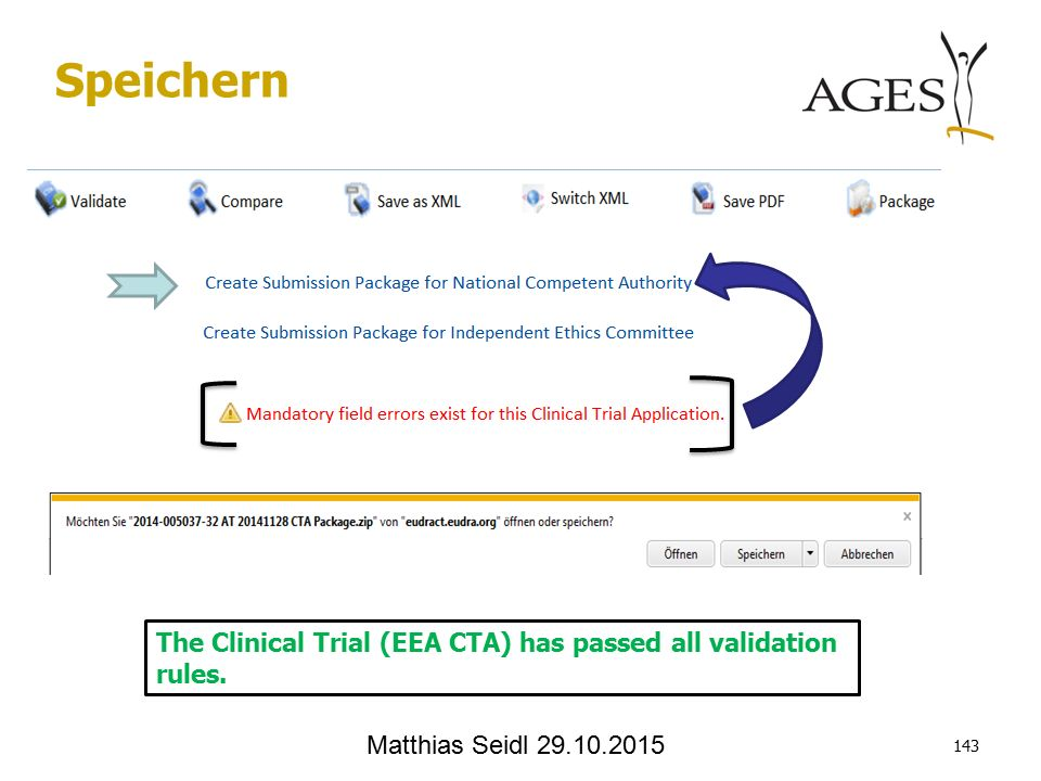 Matthias Seidl Speichern The Clinical Trial (EEA CTA) has passed all validation rules.