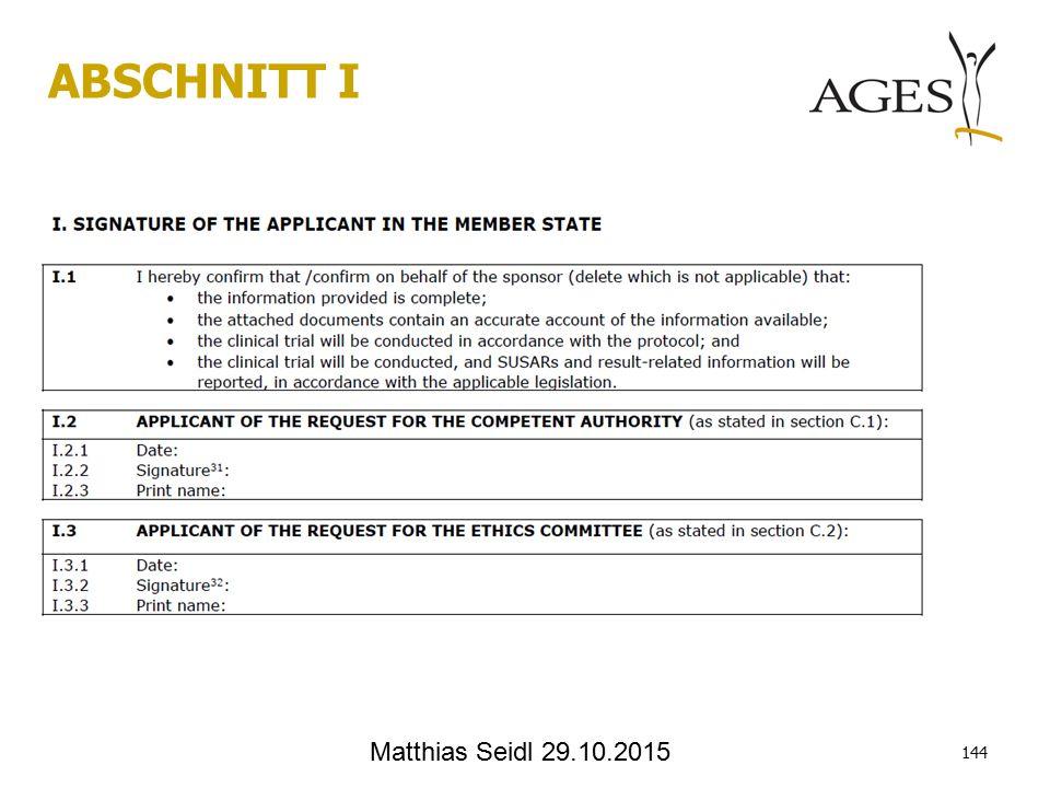 Matthias Seidl 29.10.2015 ABSCHNITT I 144