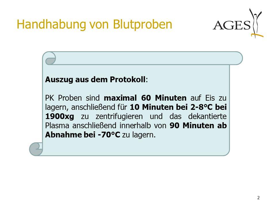 2 Handhabung von Blutproben Auszug aus dem Protokoll: PK Proben sind maximal 60 Minuten auf Eis zu lagern, anschließend für 10 Minuten bei 2-8°C bei 1900xg zu zentrifugieren und das dekantierte Plasma anschließend innerhalb von 90 Minuten ab Abnahme bei -70°C zu lagern.