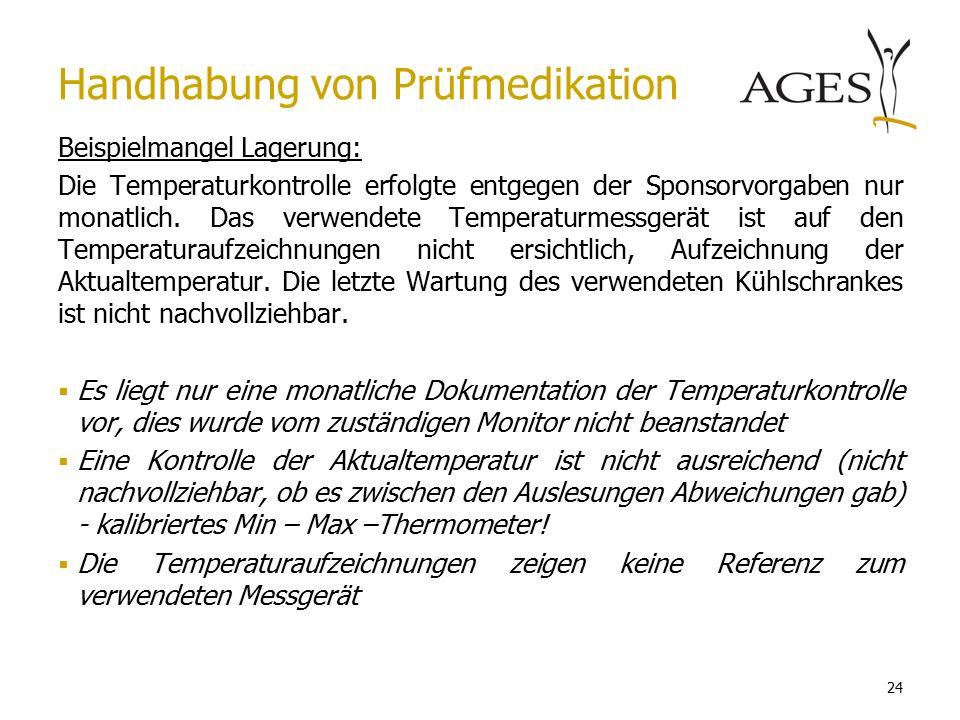 24 Beispielmangel Lagerung: Die Temperaturkontrolle erfolgte entgegen der Sponsorvorgaben nur monatlich.