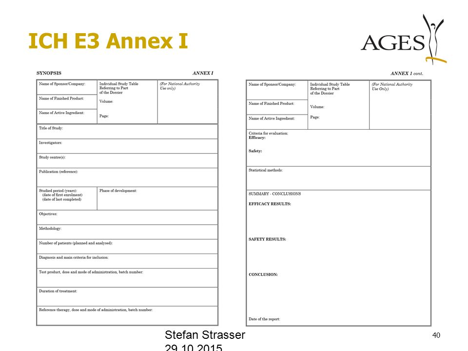 ICH E3 Annex I Stefan Strasser 29.10.2015 40