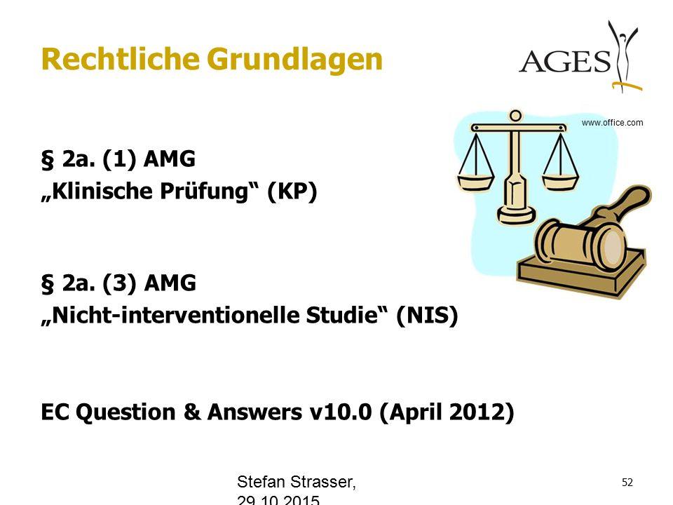 """Rechtliche Grundlagen § 2a. (1) AMG """"Klinische Prüfung (KP) § 2a."""