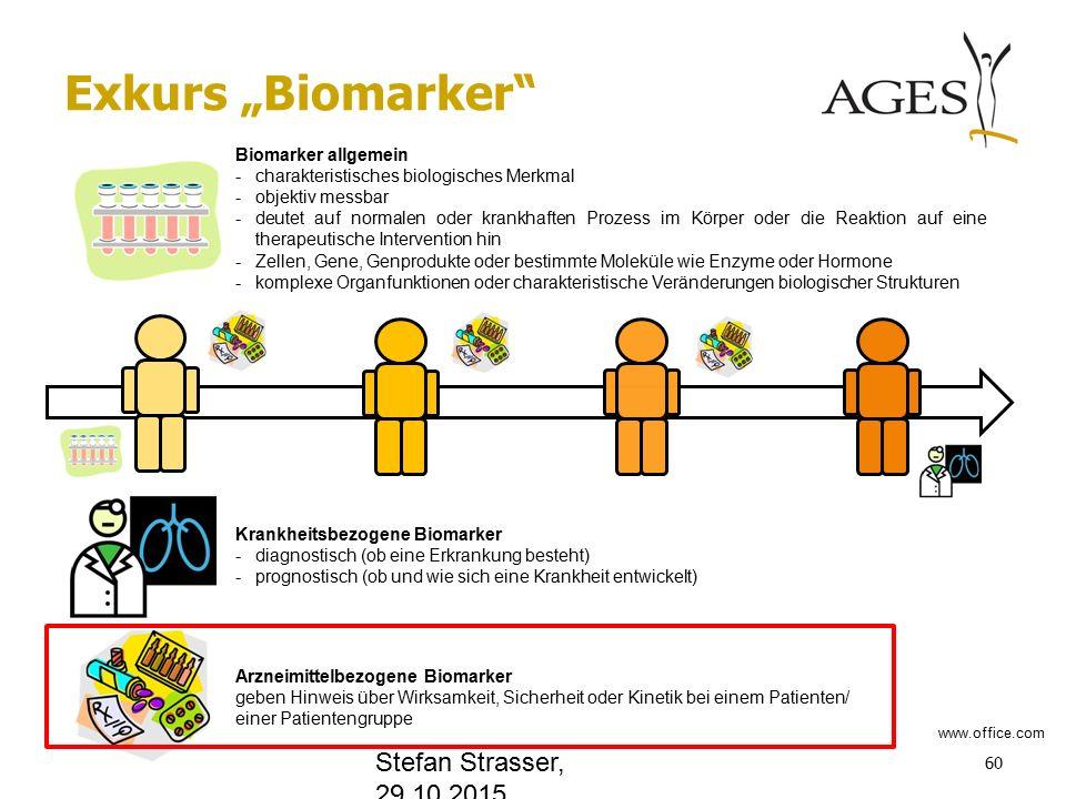 """Exkurs """"Biomarker 60 Biomarker allgemein -charakteristisches biologisches Merkmal -objektiv messbar -deutet auf normalen oder krankhaften Prozess im Körper oder die Reaktion auf eine therapeutische Intervention hin -Zellen, Gene, Genprodukte oder bestimmte Moleküle wie Enzyme oder Hormone -komplexe Organfunktionen oder charakteristische Veränderungen biologischer Strukturen Krankheitsbezogene Biomarker -diagnostisch (ob eine Erkrankung besteht) -prognostisch (ob und wie sich eine Krankheit entwickelt) Arzneimittelbezogene Biomarker geben Hinweis über Wirksamkeit, Sicherheit oder Kinetik bei einem Patienten/ einer Patientengruppe www.office.com Stefan Strasser, 29.10.2015"""