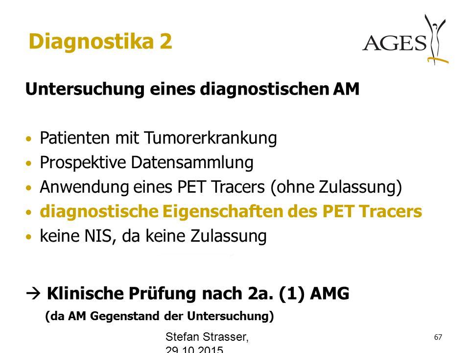 www.office.com Diagnostika 2 Untersuchung eines diagnostischen AM Patienten mit Tumorerkrankung Prospektive Datensammlung Anwendung eines PET Tracers (ohne Zulassung) diagnostische Eigenschaften des PET Tracers keine NIS, da keine Zulassung  Klinische Prüfung nach 2a.