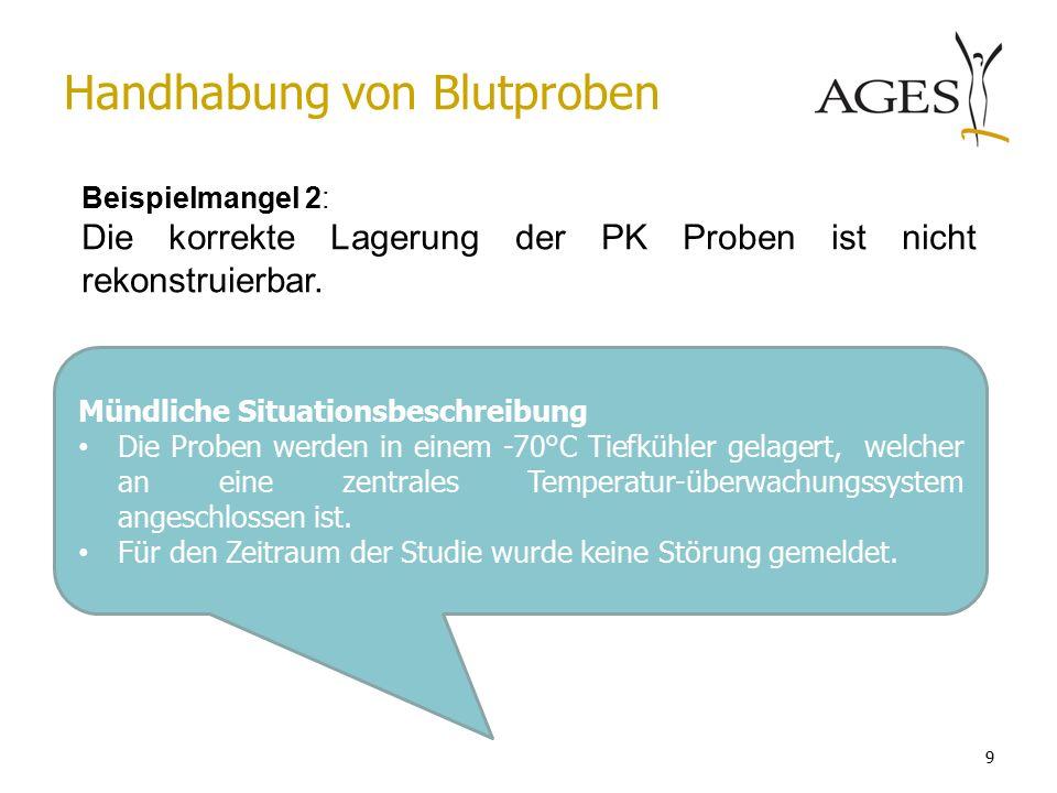 Mündliche Situationsbeschreibung Die Proben werden in einem -70°C Tiefkühler gelagert, welcher an eine zentrales Temperatur-überwachungssystem angeschlossen ist.