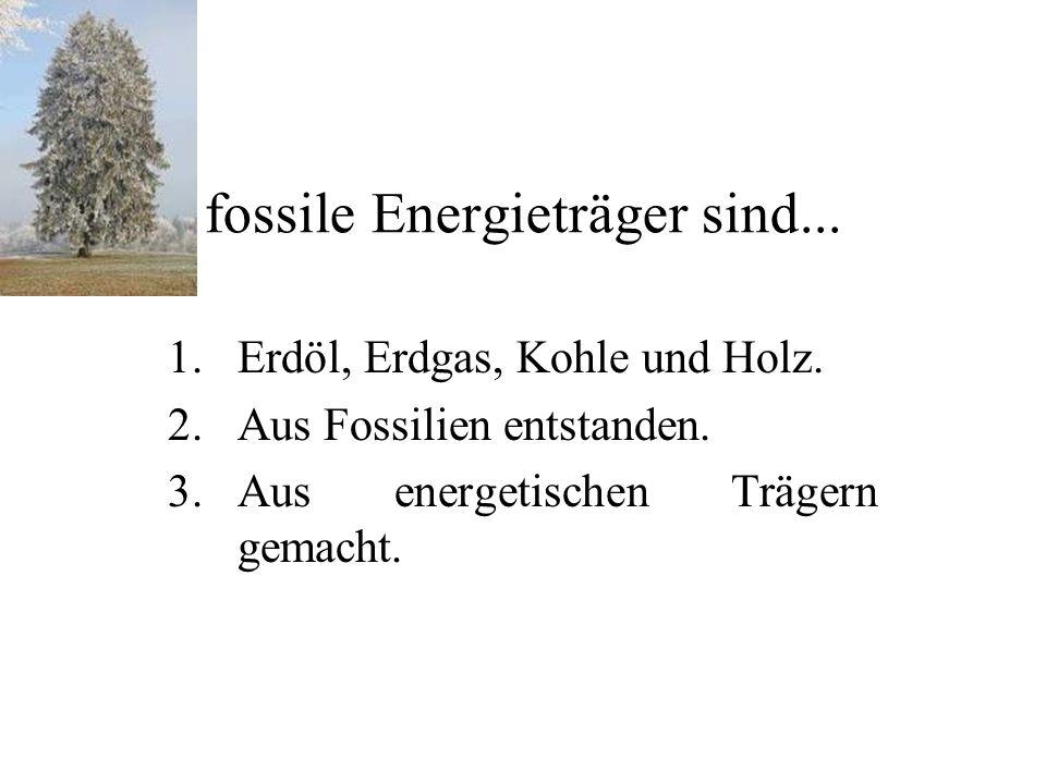 fossile Energieträger sind... 1.Erdöl, Erdgas, Kohle und Holz.